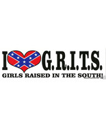 I Love GRITS Girls Raised In The South Vintage 3X10 Vinyl Rebel Sticker - $3.25