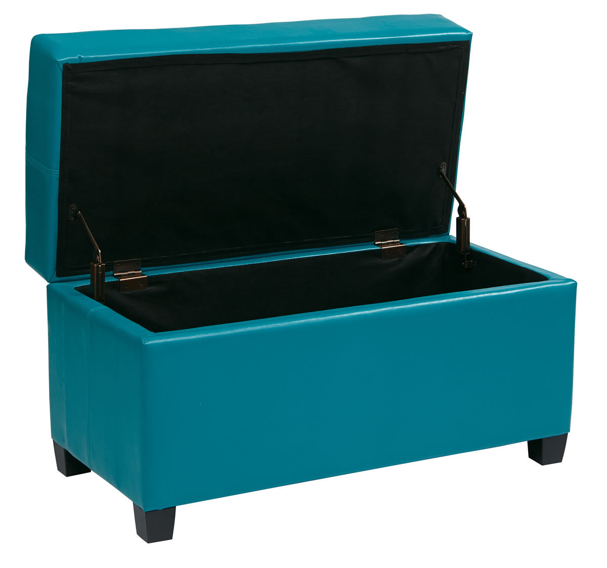 32 Wide Vinyl Storage Ottoman Bench Toy Chest Wood Legs