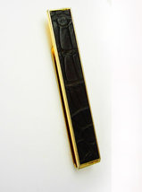 Black Tanned Alligator Large Tie Clip Swank Holidays Birthday Business - $55.00
