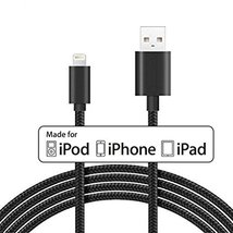 Apple MFI Certified 10 Ft Black Braided Charge Sync Lightning Cable: iPh... - $14.85