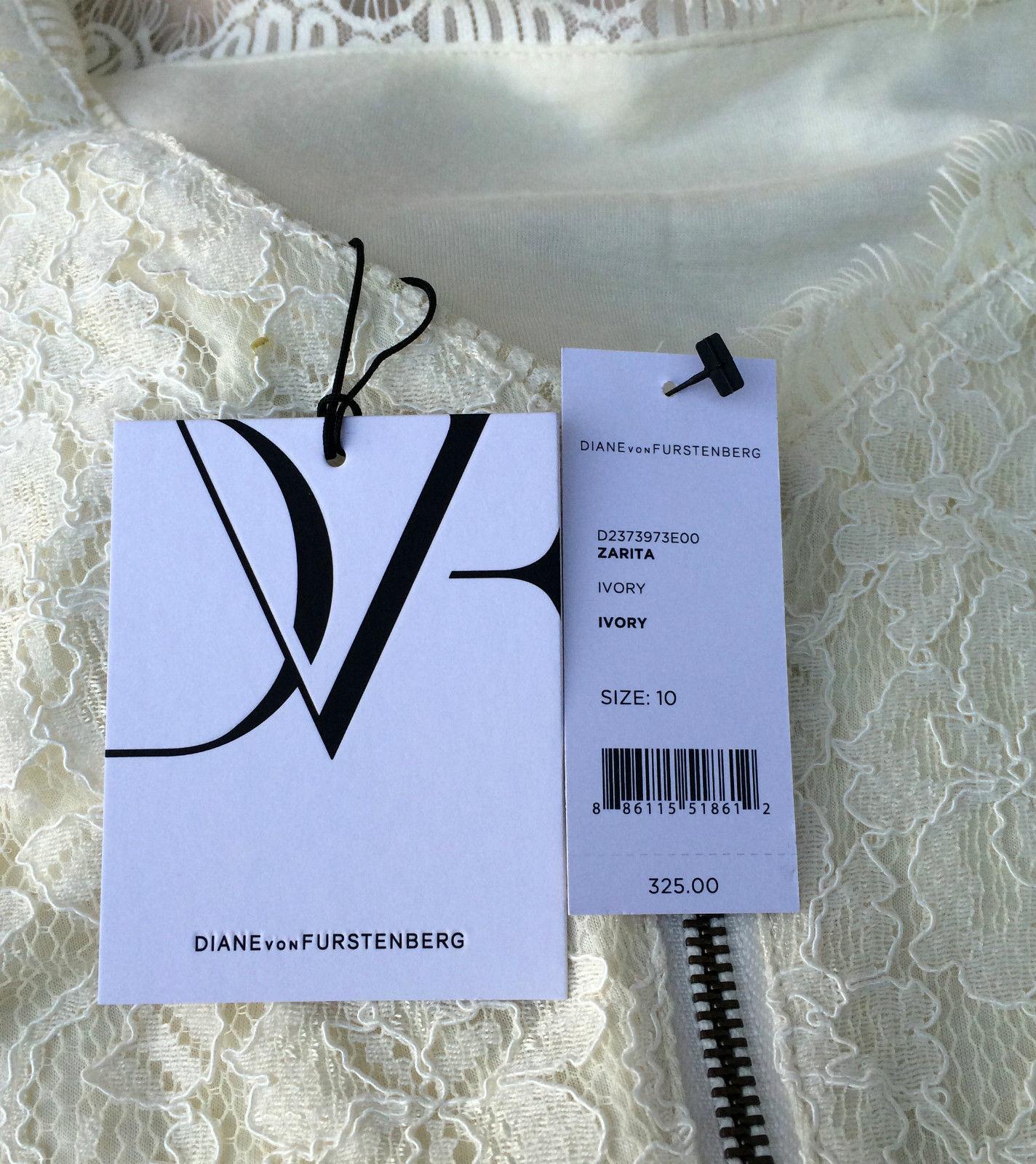 Diane von Furstenberg Zarita Lace Dress in Ivory size 12