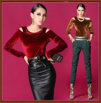 Vintage Velvet Velour Split Collar Long Sleeved T Top Shirt Ruby Red Dee... - $56.95