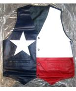 TEXAS FLAG COLOR LEATHER VEST NEW 2014 STOCK. ALL SIZES - HI QUALITY - C... - $48.00+