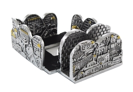 Stand for business cards & memo paper from Israel. Jerusalem and menorah... - $34.50