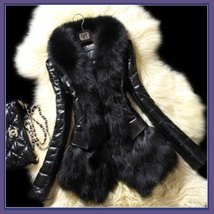 Sheepskin Faux Leather Jacket Trimmed with Long Black Faux Fur Hidden Buttons image 2