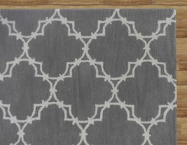Hand Tufted Trellis Gray 3' x 5' Contemporary Woolen Area Rug Carpet - $209.00