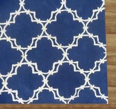 Hand Tufted Trellis Blue 9' x 12' Contemporary Woolen Area Rug Carpet - $799.00