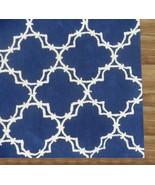 Hand Tufted Trellis Blue 5' x 8' Contemporary Woolen Area Rug Carpet - $369.00