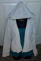 Adorable! Super-White Hooded Rain Jacket w.Gray Sweater Lining VERY WARM... - $24.99