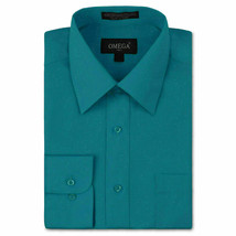 Omega Italy Men's Long Sleeve Solid Regular Fit Teal Dress Shirt - 2XL