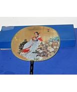 Vintage Hand-Held Asian SILK PADDLE FAN Bamboo Handle Japanese Geisha Girl - $29.70