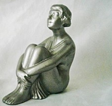 Seated Silver Flapper Girl Figurine - Art Deco Spelter - $180.00
