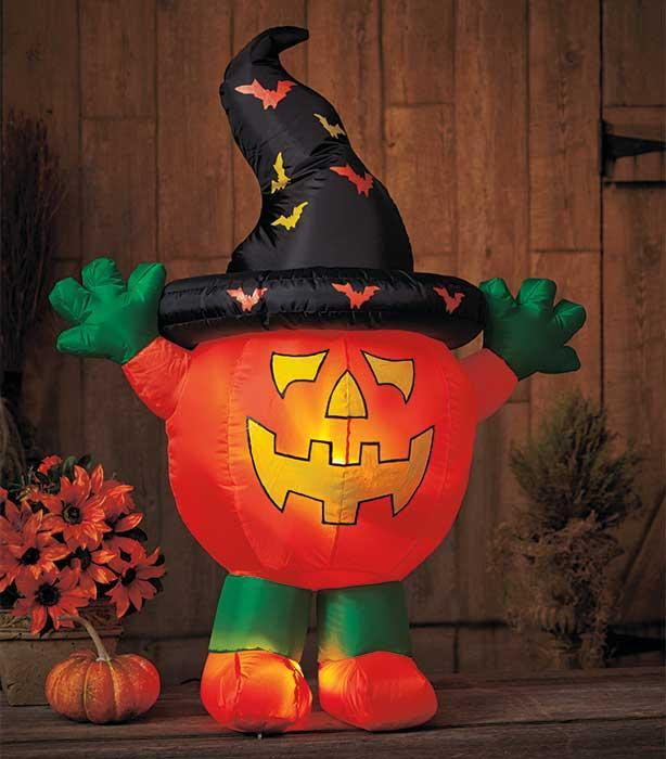 Led lighted halloween pumpkin airblown inflatable yard for Air blown decoration
