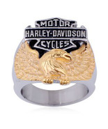 Motorcycle Gold Eagle Emblem Stainless Steel Ring Sizes 8-15 - $19.99