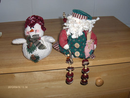 Christmas Santa and Snowman Tabletop Decoration... - $11.88
