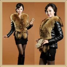 Black Sheepskin Faux Leather Down Coat w/ Racoon Dog Faux Fur Collar on Jacket