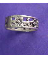 Art Nouveau Ring Sterling Silver Vintage Floral Wedding Band Flower Prom... - $65.00