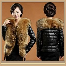 Black Sheepskin Faux Leather Down Coat w/ Racoon Dog Faux Fur Collar on Jacket  image 2