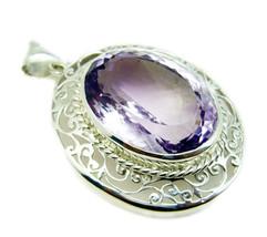 Fine 925 Sterling Silver Amethyst Gemstone Pendant Jewelry FSTHU15JJP88 - $109.69