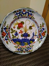 "Vintage Faenza Majolica  Italy Garofano Blue Carnation 8.25"" Side Salad Plate image 1"