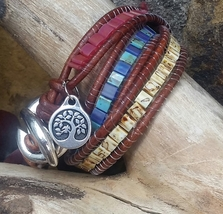 Chunky multi color beaded leather wrap bracelet  - $29.00