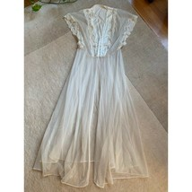 Vintage Cream Embroidered Lace Sheer Bridal Button Down Long Maxi Robe - $185.13