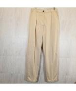"L L BEAN Womens Beige Khaki Flannel Lined Pants Size 14 T (33"" Inseam) O... - $28.08"