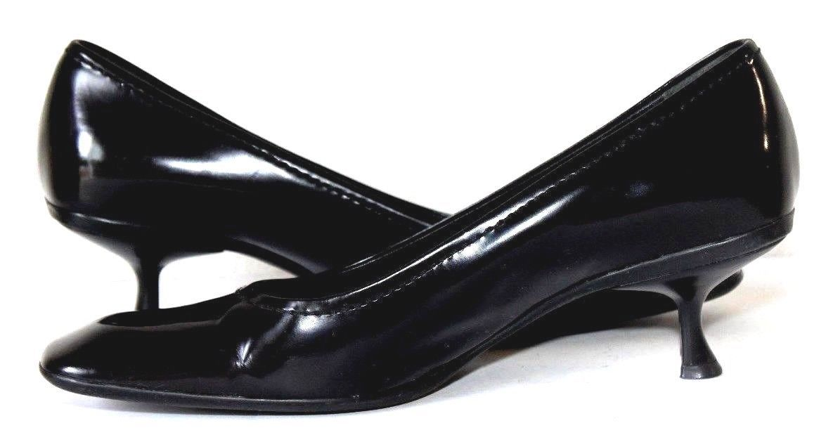 Prada Black Patent Leather Square Toe Pump Heel Shoes Size 36