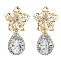 Yoursfs Clip-On Earrings for Wedding Bridal Rhinestone Flower Shape Non ... - $16.69