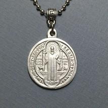 Saint Benedict of Nursia Cross Protection Medal Pendant Charm Silver Ton... - $14.99