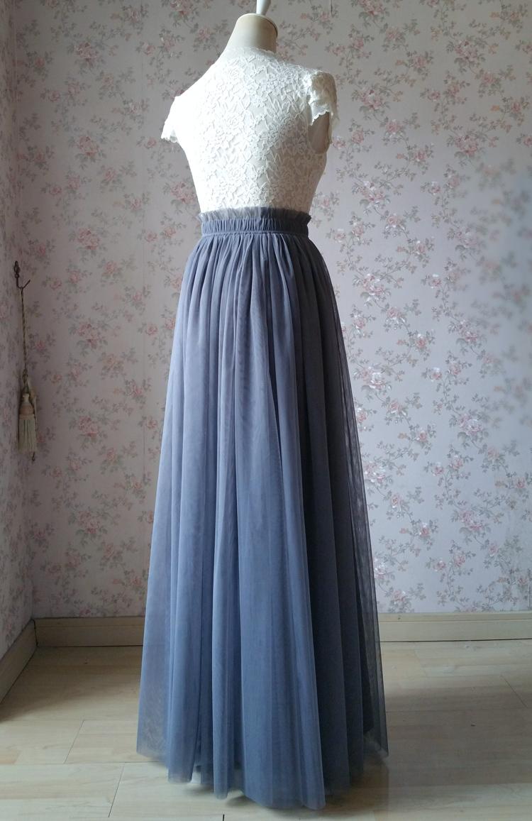 GRAY Wedding Bridesmaid Long Tulle Skirts High Waist Gray Full Tulle Skirt Plus