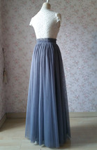 GRAY Wedding Bridesmaid Long Tulle Skirts High Waist Gray Full Tulle Skirt Plus  image 4