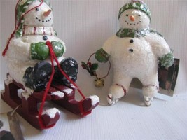 2 Snowmen Ornaments Winter Frolic Ice Skating and Sledding Xmas  Bethany... - $10.88