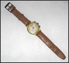 SWATCH Watch Brown Leather Straps Swiss Made 22 Jewels Wristwatch Chrono Men's
