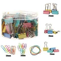 240 Pcs Assorted Colors Binder Clips, Paper Clips, Rubber Bands, Paper Clamps,Pa image 2