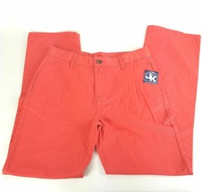 J Khaki Boys Sz 18 Regular Coral Solid Flat Front Bootcut Cotton Denim J... - $14.95