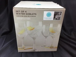 Martha Stewart Collection 14.9 Ounce Water Goblets Set Of 4 New In Box - $24.74