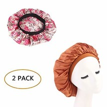 c14a490f5444 2 Pieces Soft Satin Sleeping Cap Salon Bonnet Night Sleep Hat Hair Loss Cap  -  12.98