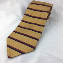 Brooks Brothers Men's Woven Silk Neck Tie Striped Gold Red Navy 3.75 Classic Usa - $13.96