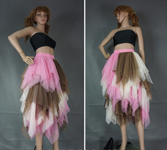 Tiered Elastic High Waist Tulle Skirt Women's Hi-lo Layered Holiday Formal Skirt image 8