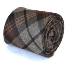 Frederick Thomas da uomo in lana slim Tweed CRAVATTA MARRONE QUADRETTI MODELLO