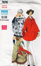 Vintage 1960's Misses' PONCHO Vogue Pattern 7670-v Size 12-14 - $14.00