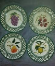 Raymond Waites Cornucopia Fruit Lattice ~ Fruits~ Salad Plates Complete ... - $18.80