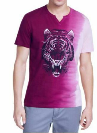 INC Men's T-Shirt Magenta Purple Size XL Graphic Ombre Split Neck Tee SEALED!!!