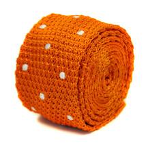 Frederick Thomas orange and white polka spot skinny knitted tie FT2218