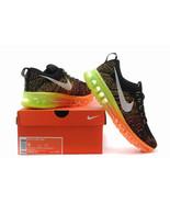 Nike Flyknit Air Max Men Runing Shoes Black\orange\green