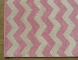 Hand Tufted Chevron Zig Zag Pink 6' x 9' Contemporary Woolen Area Rug Carpet - $479.00
