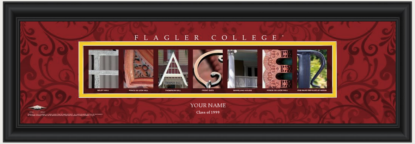 Personalized Flagler College Campus Letter Art Print
