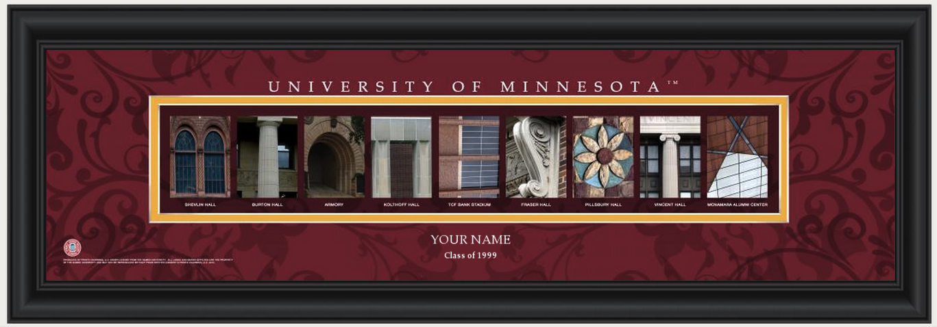 Personalized University of Minnesota Campus Letter Art Print