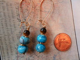 BLUE AGATE AND TIGER EYE GOLD Earrings 20 - $11.06